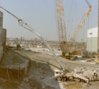 Putzmeister concrete pump in operation at the site of Cascade Wall construction